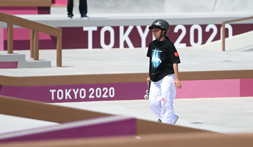 Zeng Wenhui trains ahead of the Olympic Games in Tokyo, Japan, July 22, 2021. Xue Yubin/Xinhua