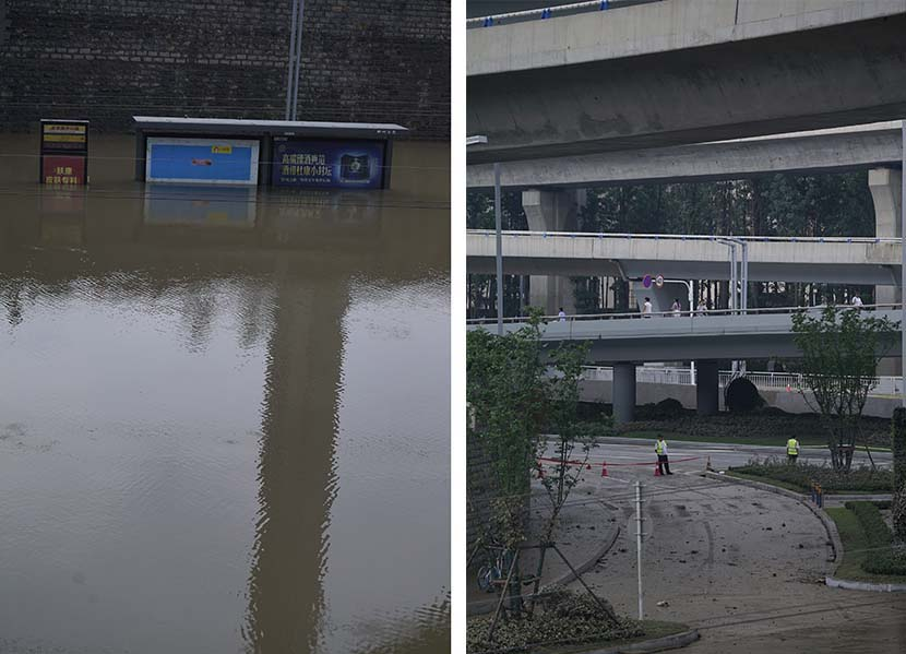 Left: A bus stop on Shakou Road remains waterlogged from the rain; right: Floodwater has receded from the surface of the ground at some areas near Jingguang North Road Tunnel in Zhengzhou, Henan province, July 22, 2021. Wu Huiyuan/Sixth Tone