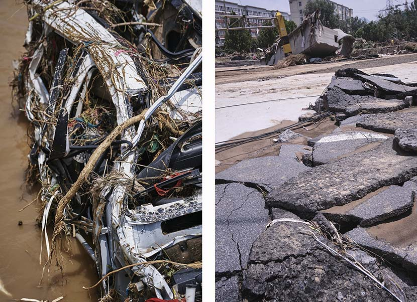 Left: A damaged car; right: A damaged road in Mihe Town, July 24, 2021. Wu Huiyuan/Sixth Tone
