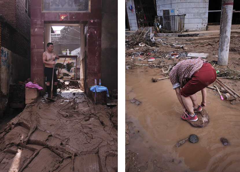 Villagers affected by the floods, in Mibei Village, Henan province, July 24, 2021. Wu Huiyuan/Sixth Tone