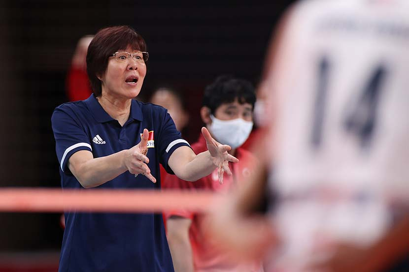 Lang Ping of Team China reacts against Team United States during the Women's Preliminary - Pool B volleyball on day four of the Tokyo 2020 Olympic Games at Ariake Arena in Tokyo, Japan,  July 27, 2021. Toru Hanai/Getty Images/People Visual