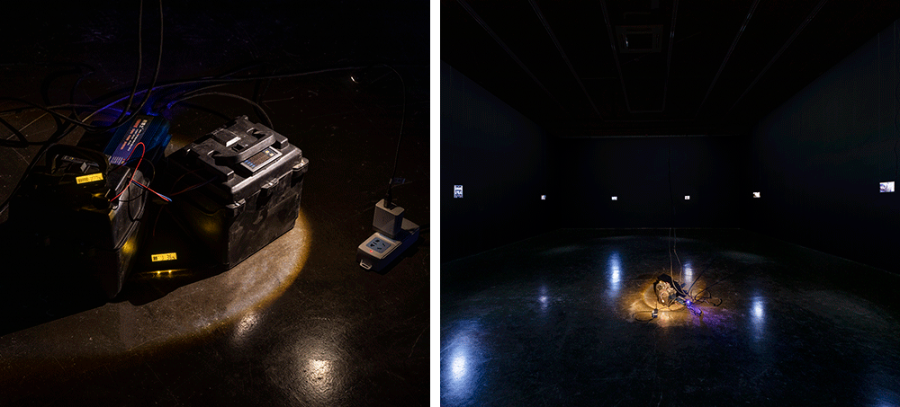 """Left: A view of the """"Emgergency Power System"""" exhibition, 2020; Right: A view of Ge Yulu's solo exhibition, May 22, 2020. Courtesy of Ge Yulu, photo taken by Yang Wei via Beijing Commune"""