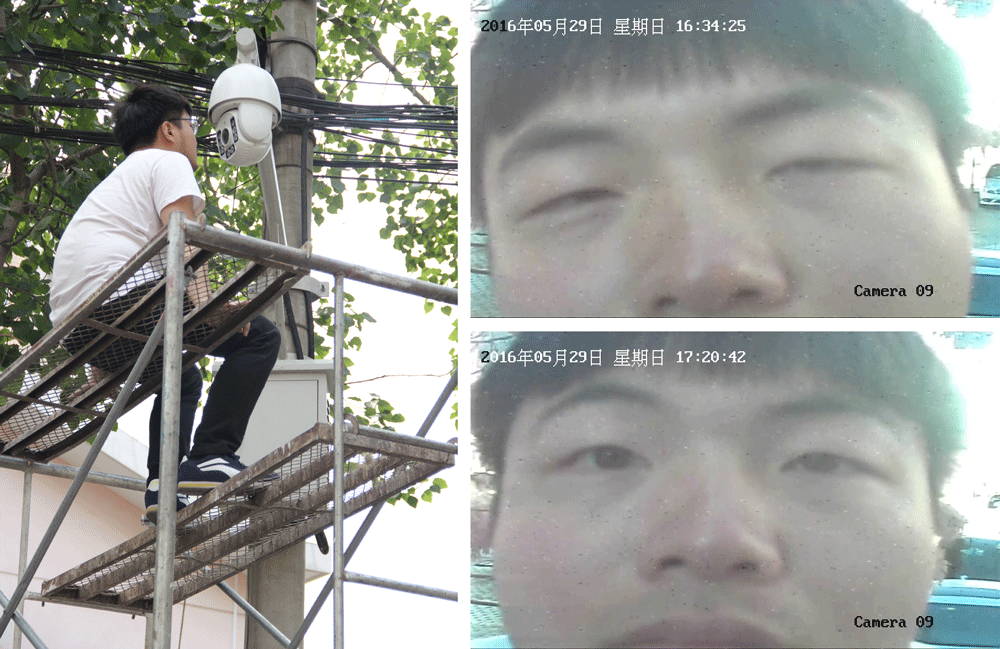 Left: Ge Yulu sits on top of a scaffold next to a camera; Right: Stills from the camera footage shot in Beijing, May 2016. Courtesy of Ge Yulu