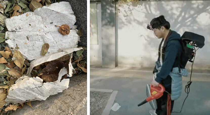 Left: The love letter to Ziwei. Courtesy of Ge Yulu; Right: Ge Yulu blows the letter toward Ziwei's home, in Beijing, 2019. From @腾讯新闻人间指北on Tencent Video