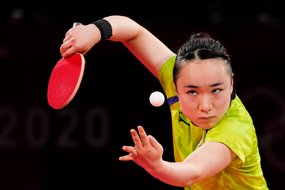 Mima Ito during the table tennis women's singles semifinal at the 2020 Summer Olympics, Tokyo, July 29, 2021. Kin Cheung/People Visual
