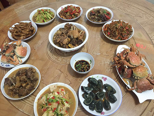 The family reunion meal Ling Dong shared with his birth family in Zhejiang province, February 2021. Courtesy of Ling Dong