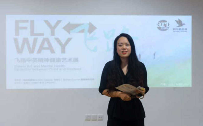 Morty Chen, founder of the Chinese nonprofit A Perch for the Thorn Birds, at FLYWAY's opening event Saturday. Courtesy of A Perch for the Thorn Birds