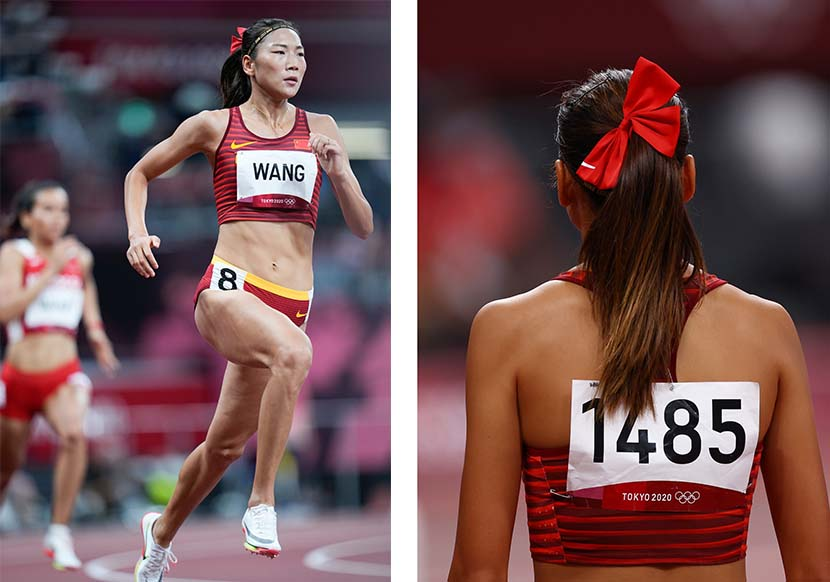 Wang Chunyu of Team China leads her Women's 800m semifinal field on day eight of the Tokyo 2020 Olympic Games at Olympic Stadium in Tokyo, Japan, July 31, 2021. People Visual and IC