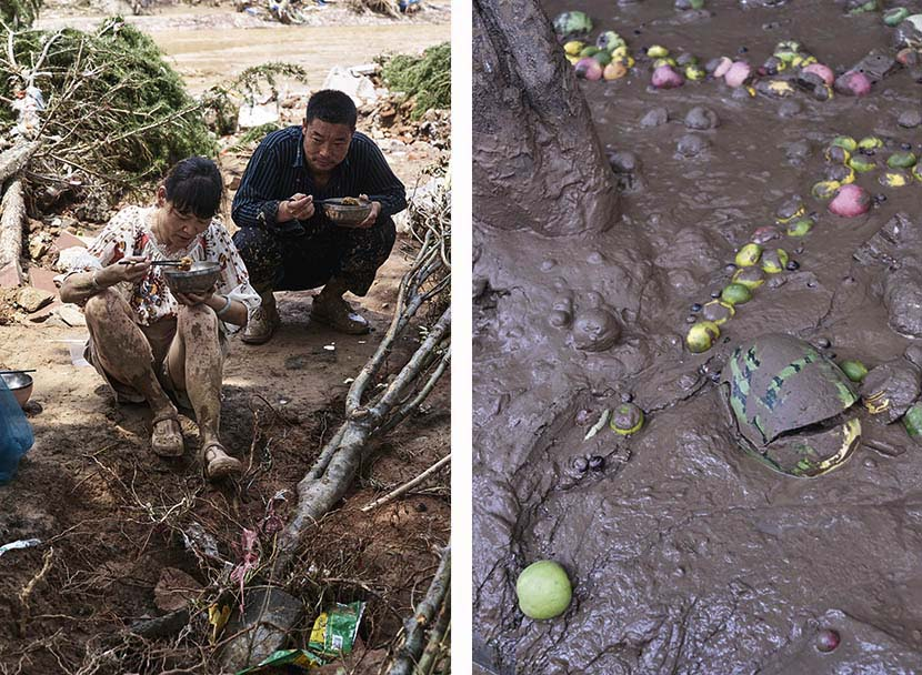 Left: A woman and a man eat lunch in Mihe Town, Henan province, July 24, 2021;right: Fruits are buried in the mud in front of a fruit store after record rainfall in Mihe Town, Henan province, July 23, 2021. Wu Huiyuan/Sixth Tone