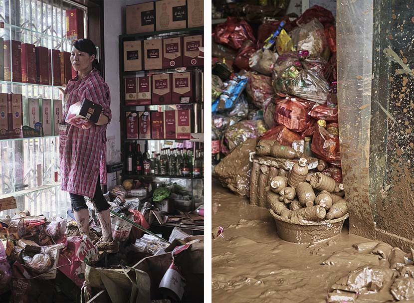 Left: A woman moves bottles of baijiu to a safer place at a grocery store; right: The corner of a flooded grocery store in Mihe Town, Henan province, July 23, 2021. Wu Huiyuan/Sixth Tone