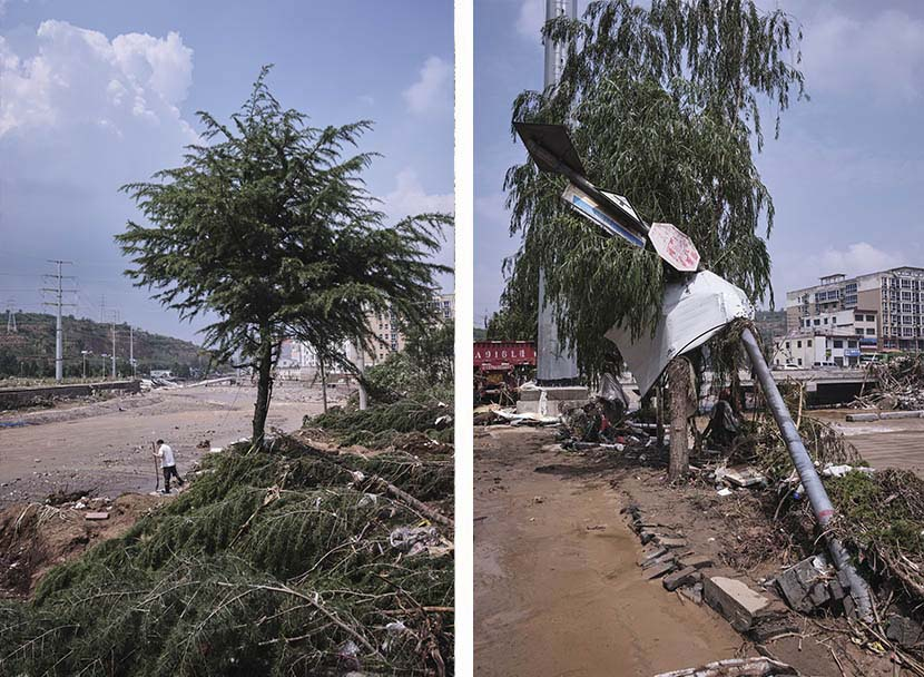 Left: A man washes a shovel; right: A toppled utility pole in Mihe Town, Henan province, July 24, 2021. Wu Huiyuan/Sixth Tone