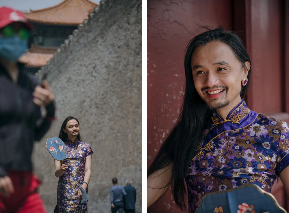 """Chao Xiaomi poses for photos during a photo shoot for Zhang Shaokang's photography project """"Better Together,"""" in Beijing, May 2021. Courtesy of Zhang Shaokang"""