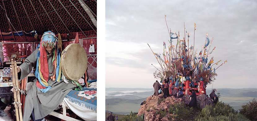 Left: A shaman in the Chenbarhu Banner Grassland in Hulun Buir, Inner Mongolia Autonomous Region, 2011; right: Mongolian shamanic stone cairn, 2011. Courtesy of Li Wei