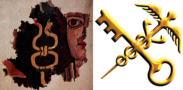 Left: Details of Hermes and the caduceus as depicted on the Loulan tapestry, 3rd century AD. Wikimedia Commons; Right: The logo of China's General Administration of Customs. From the website of the General Administration of Customs