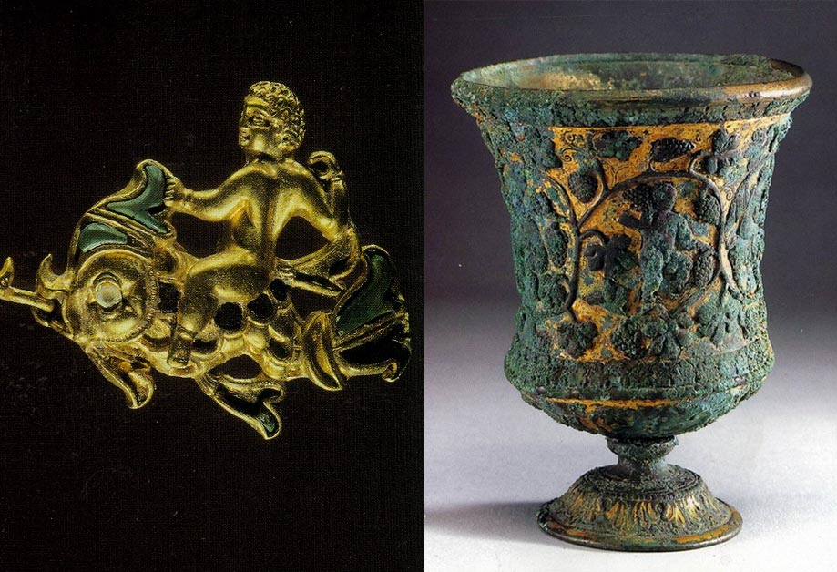 Left: A gold ornament uncovered at the Tillya Tepe site shows Eros riding a dolphin; Right: A gilt-bronze stem cup decorated with figures and a grapevine discovered in Datong and dating to the Northern Wei dynasty (385-484 AD). Courtesy of the author