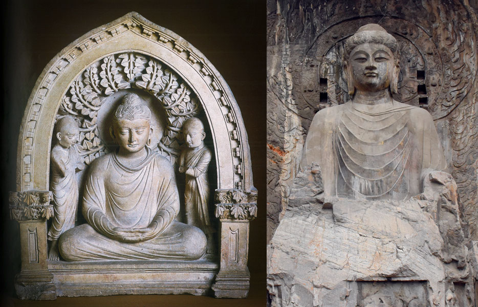 Left: Fayaz Tepe Buddha with Monks, 2nd century AD. From the State Museum of History of Uzbekistan; Right: A statue at Longmen grottoes in Luoyang, Henan province, 2019. People Visual