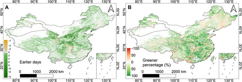 Spatial distribution of earlier and greener spring in 2020 across China. From the journal Science Advances