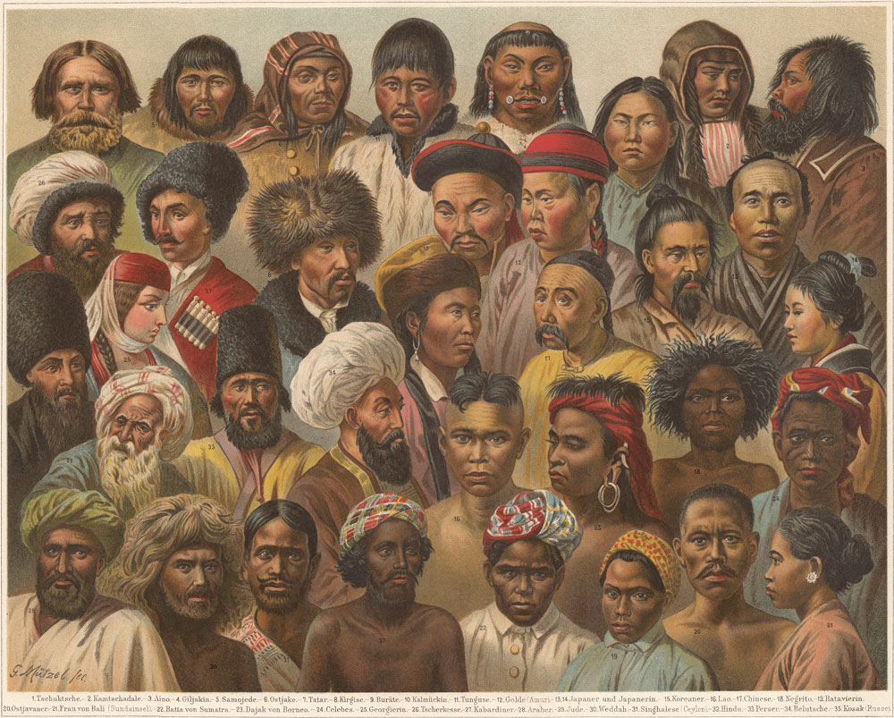 """An illustration purporting to show different Asian races, from the """"Meyers Konversations-Lexikon,"""" 5th edition, by Bibliographisches Institut – Leipzig, 1895-1897. People Visual"""