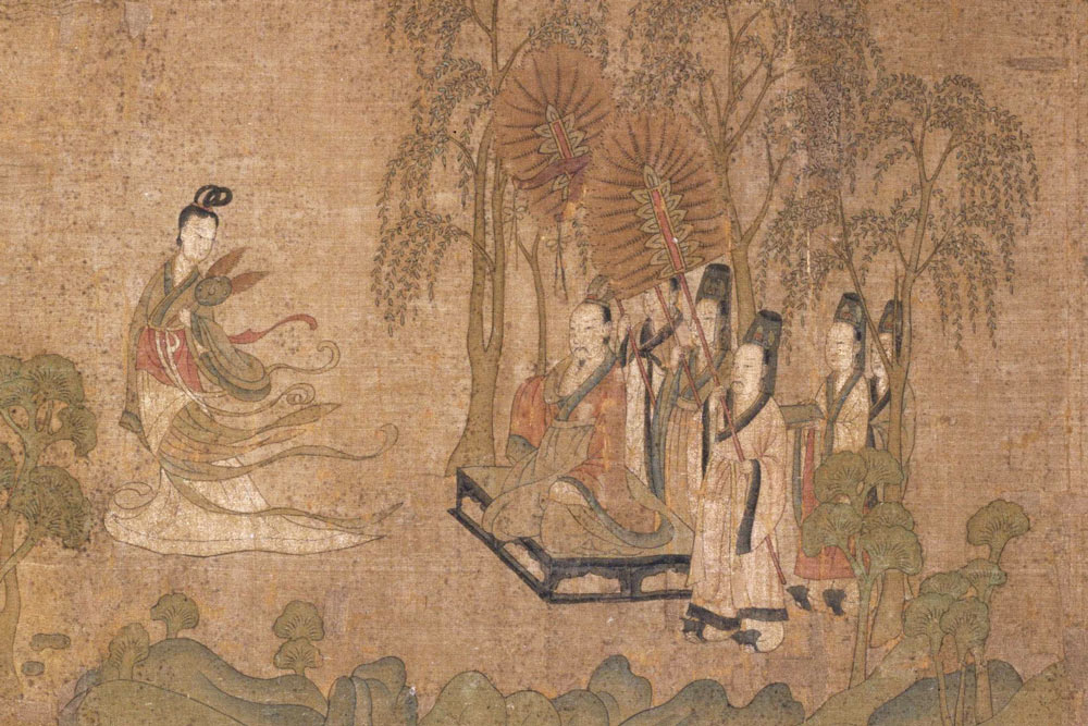 """Details from """"Nymph of the Luo River"""" showing Cao Zhi's reunion with Zhen Mi, by Gu Kaizhi. Courtesy of The Palace Museum"""