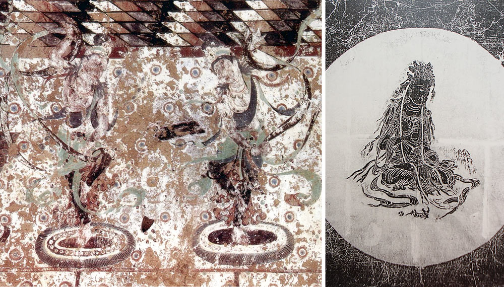 Left: A mural from Cave 220 of the Dunhuang grottoes. Dunhuang Academy China; Right: A rubbing of a Wu Daozi painting. Courtesy of Mao Ming