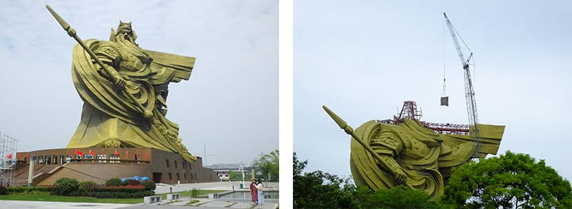 Right: The full-length statue of Chinese warrior-god Guan Yu in Jingzhou, Hubei province, Oct. 9, 2020; left: The head from the statue of Guan Yu is removed in Jingzhou, Hubei province, Sept. 5, 2021. People Visual