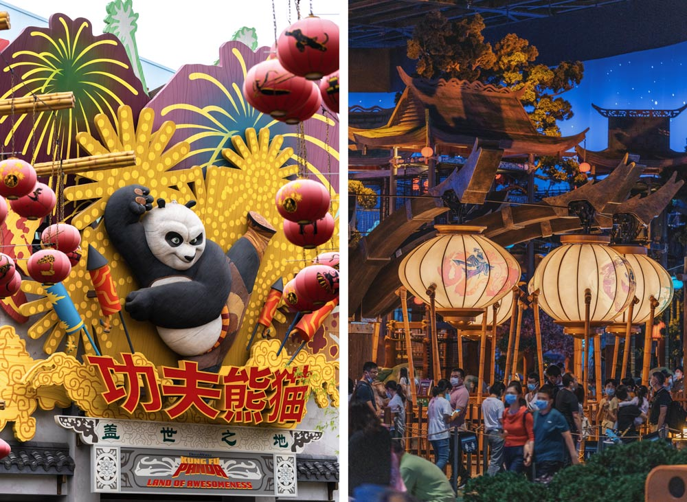 The exterior and interior view of Kung Fu Panda Land of Awesomeness at Universal Beijing Resort during its trial run in Beijing, Sept. 4, 2021. Ding Junhao/People Visual