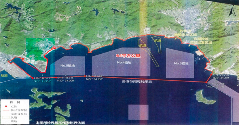 A map showing Dapeng Bay's whale conservation zone, which is marked in red. Courtesy of the interviewees