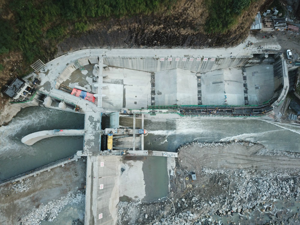 An aerial view of a hydropower station being repaired by PowerChina in Nepal, 2018. Zhong Xin/CNS/People Visual