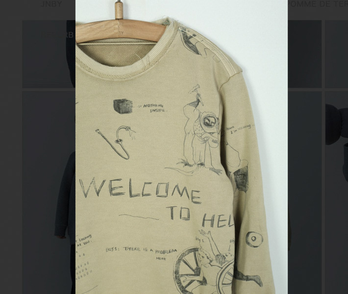 A screenshot shows JNBY clothing with questionable phrases. From Weibo