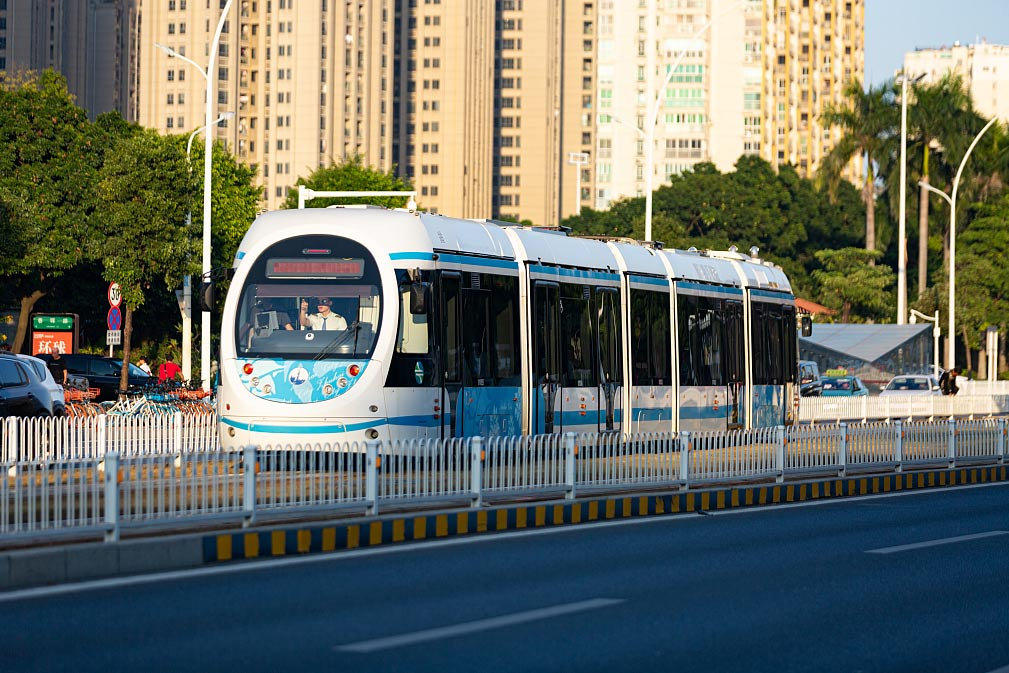 A tram in Zhuhai, Guangdong province, Nov. 17, 2019. 500px/People Visual