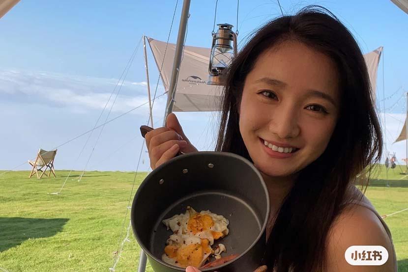 As an experienced camper, Li Guojiang recently added 12,000-yuan worth of equipment before her glamping trip in Huzhou, Zhejiang province, Sep. 2021. Courtesy of Li Guojiang