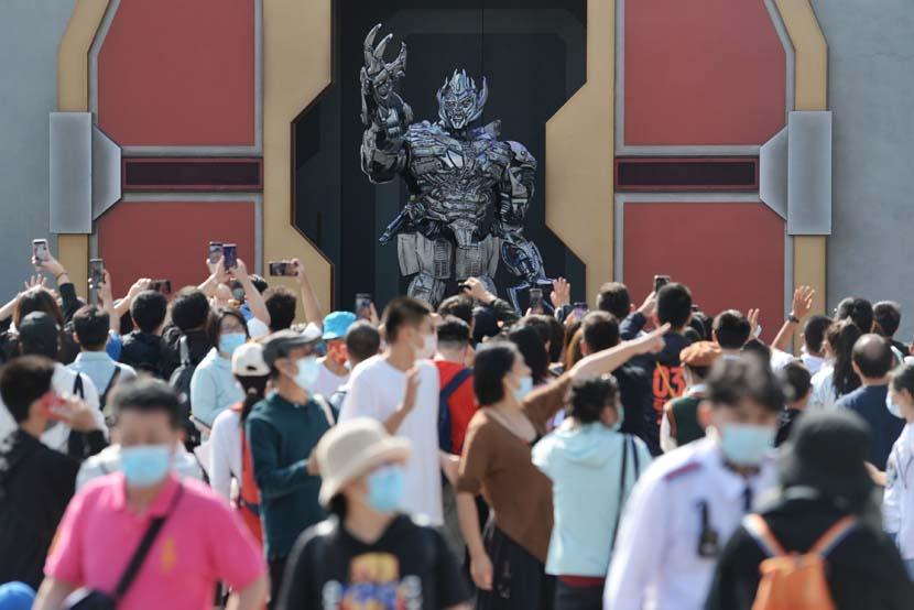 Crowds throng the Universal Beijing Resort in Beijing, Oct. 1, 2021. People Visual