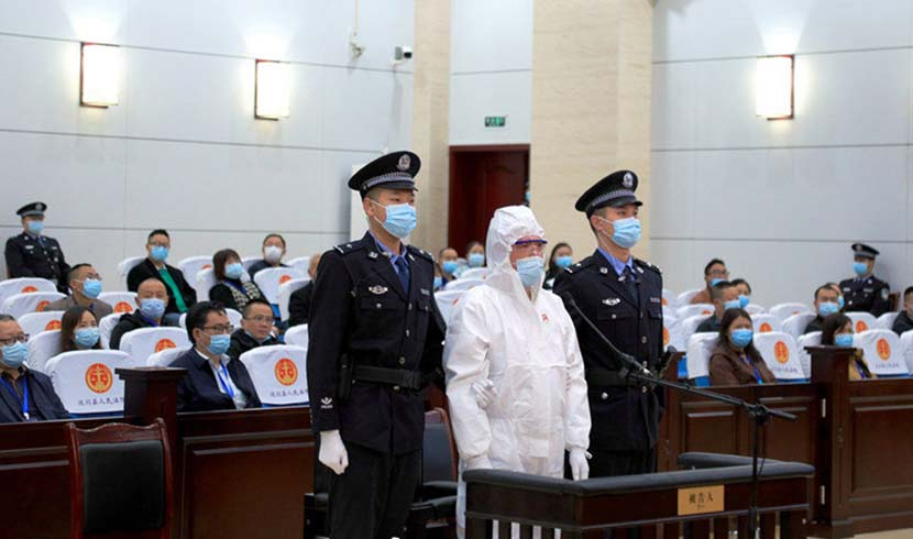 Tang Lu during the court in Wenchuan, Sichuan province, Oct. 14, 2021. From @人民网 on Weibo
