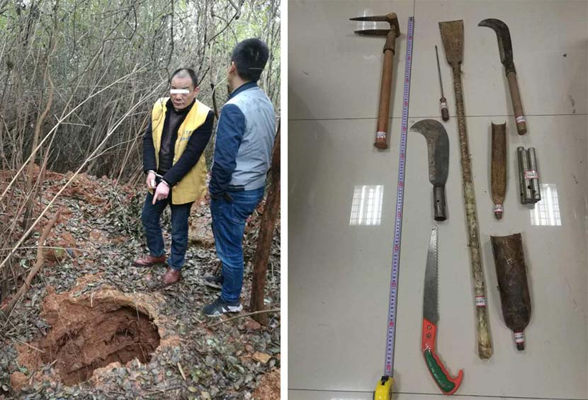 Left: A suspect identifies the tomb that he and his accomplices raided in You County, Hunan province, 2017; right: Tools captured by police that were used to dig out graves, 2017. Courtesy of Zhuzhou Police