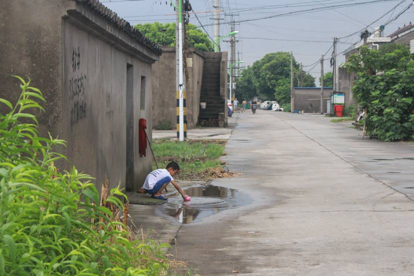 A child plays in a puddle in Hongdou Village, Jiangyin, Jiangsu province, Aug. 29, 2017. The boy used to swim with friends in Shen Jianliang's swimming pool. Wang Yiwei/Sixth Tone