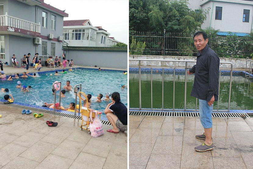 Left: Shen Jianliang's swimming pool is crowded with children in the summer of 2012. Courtesy of Shen Xiaoxia; right: Shen Jianliang stands beside the swimming pool in his yard in Hongdou Village, Jiangyin, Jiangsu province, Aug. 29, 2017. Wang Yiwei/Sixth Tone