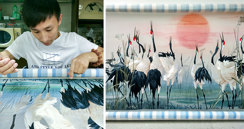 Left: You Zhichao works for the last part of his work 'Red-crowned Cranes' at his worshop; right: a general view of 'Red-crowned Cranes' in Hangzhou, Zhejiang province, Sept. 20 ,2015. Courtesy of You Zhichao