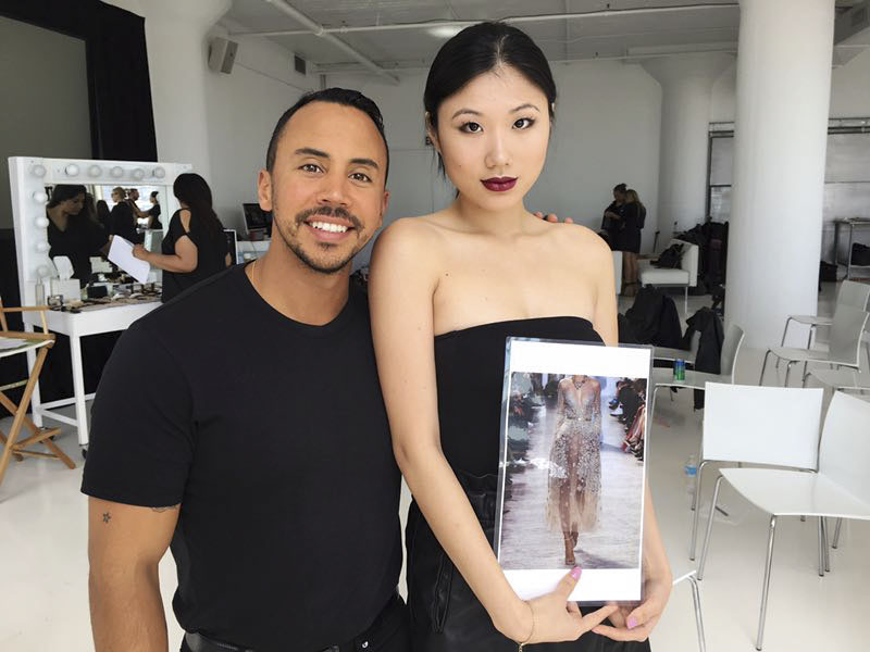 Model Melissa Jo (right) and artist Juan Belmonte (left) pose for a photo at a studio in New York, May 2017. Courtesy of Melissa Jo