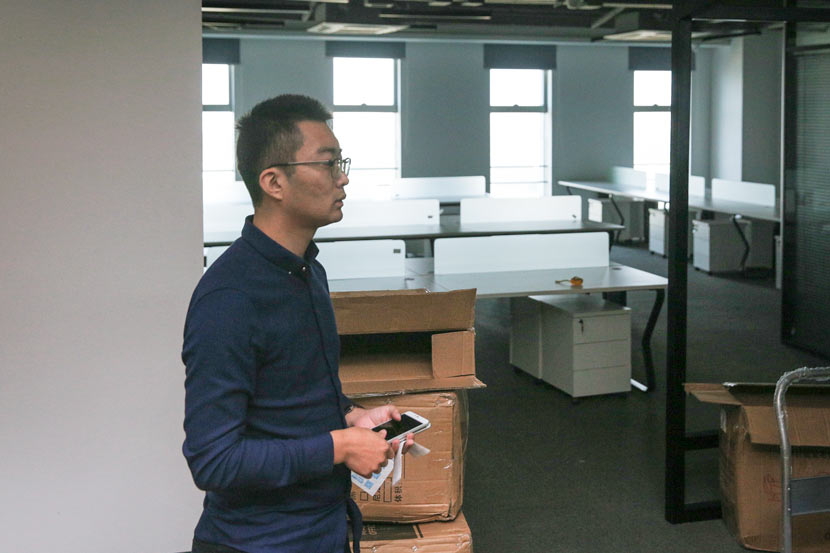 Tian Yunpeng, founder of Hengyi Wenhua, stands in his company's newly renovated office in Nanjing, Jiangsu province, Oct. 19, 2017. Shi Yangkun/Sixth Tone