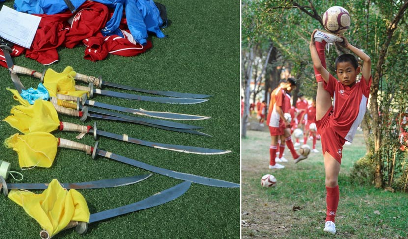Left: Swords for martial arts training lie on the grass at Shaolin Tagou Wushu School in Dengfeng, Henan province, Oct. 19, 2017. Yin Yijun/Sixth Tone; right: a student poses for a photo at Shaolin Tagou Wushu School, Oct. 16, 2016. Courtesy of Shaolin Tagou Wushu School