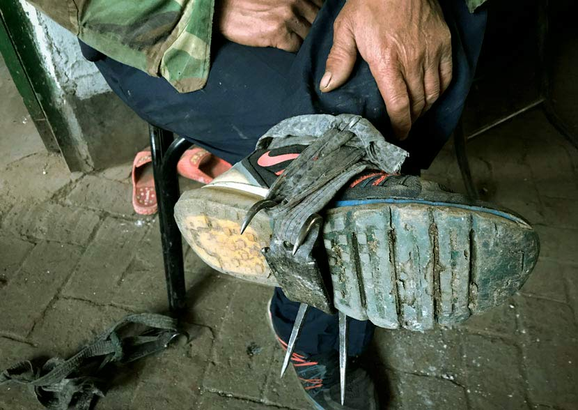 Pine nut picker Xu Yeyi attaches spikes to his shoes in Yihe Village, Linjiang, Jilin province, October 2017. Shen Wendi for Sixth Tone