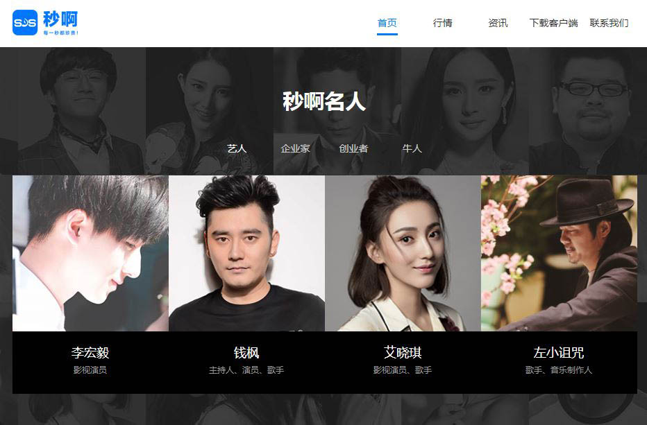 A screenshot from Miao A's website shows photos of celebrities who trade their time.