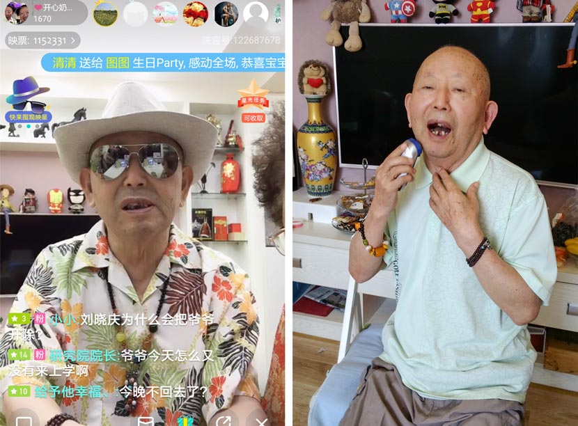 Left: a screenshot of Cui Xingli's livestream, 2017; right: Cui Xingli shaves with an electric razor at his home in Wuhan, Hubei province, Sept. 25, 2017. Zhang Xiaolian for Sixth Tone