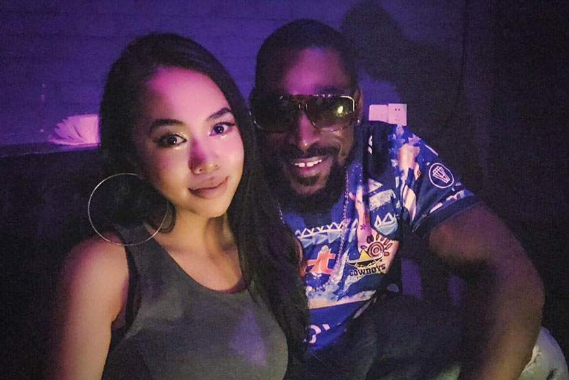 Wendell Brown (right) poses for a photo with his girlfriend, Emma Liu, on her birthday at a nightclub in Chongqing. Courtesy of Emma Liu
