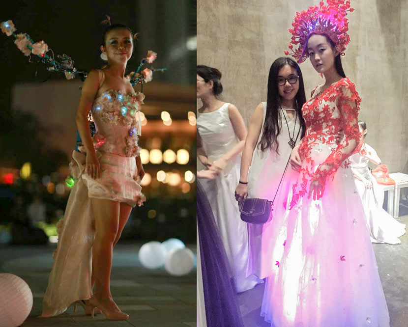 Left: Guan Chunlin models a pair of wings she designed at Make Fashion in Shenzhen, October 2016; right: Guan (left) poses for a photo with a model wearing the electric skirt Guan designed at a Shenzhen fashion show, Guangdong province, June 2017. Courtesy of Guan Chunlin