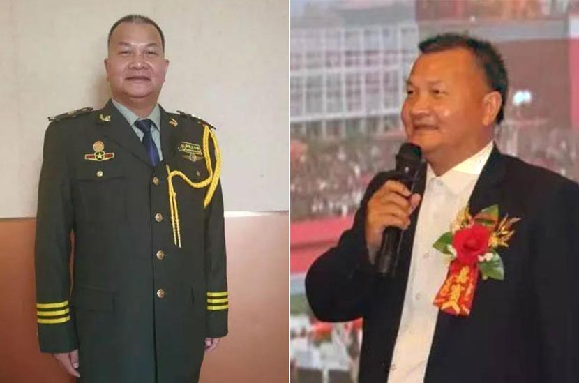 Left: Shangguan Fengli poses in a military uniform; right: Shangguan Fengli gives a speech during a corporate event. From Weibo