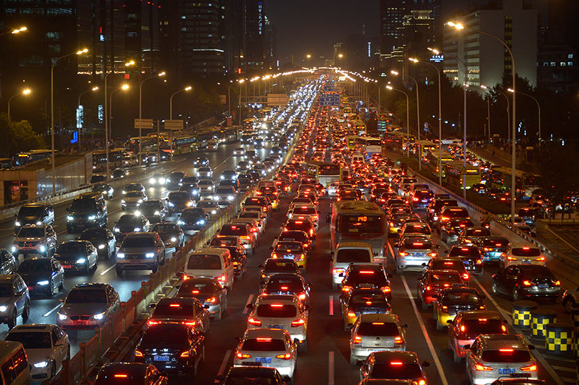 A traffic jam in Beijing, Sept. 27, 2017. VCG