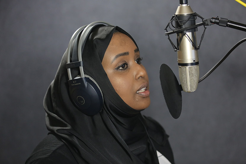 Hodan Osman Abdi records her voice in the studio, Zhejiang province, May 7, 2017. Courtesy of Hodan Osman Abdi
