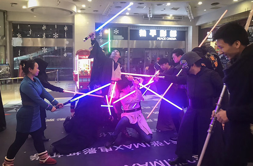 Cosplaying Star Wars fans pose at a screening of 'The Last Jedi' in Shanghai, January 2018. Courtesy of Shanghai Jedi Order