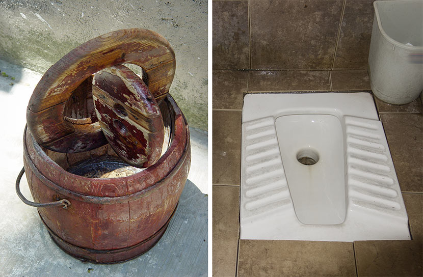 Left: A wooden bucket known as a 'matong' is seen in Nanjing, Jiangsu province, May 7, 2007. VCG; right: A squat toilet. Moment/VCG.
